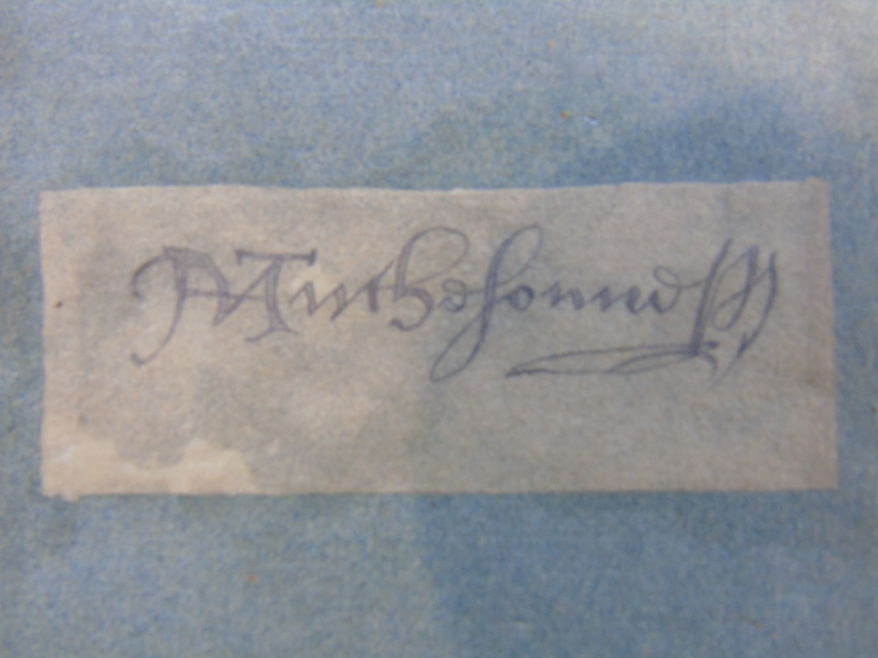 Thomas Hutcheson's signature on the inside cover of the book