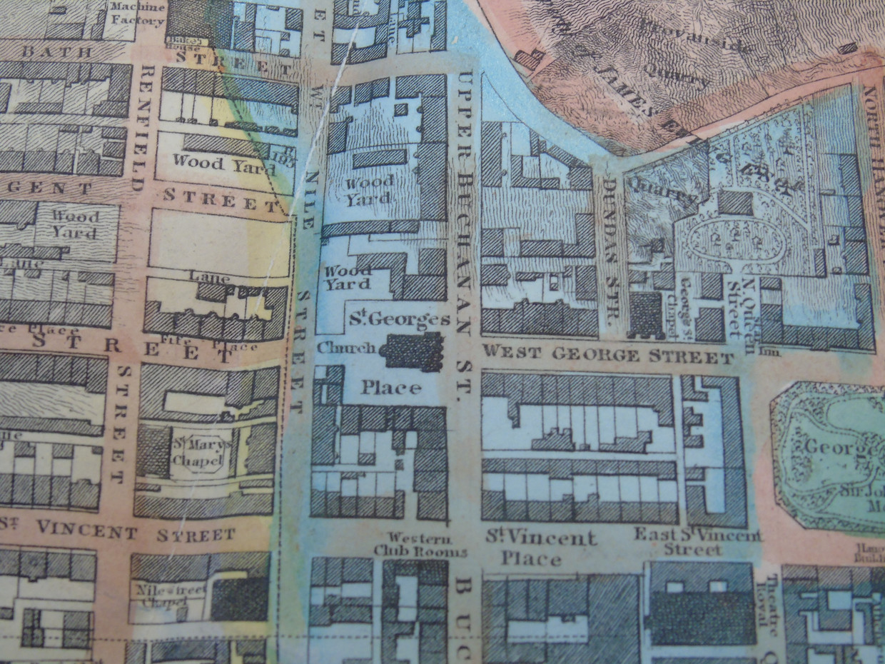 Detail of the 1828 map showing the current site of the Royal Faculty building marked as a wood yard