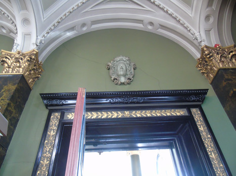 Entrance to the main library, with the plaster head of Francis Jeffrey above the doorway