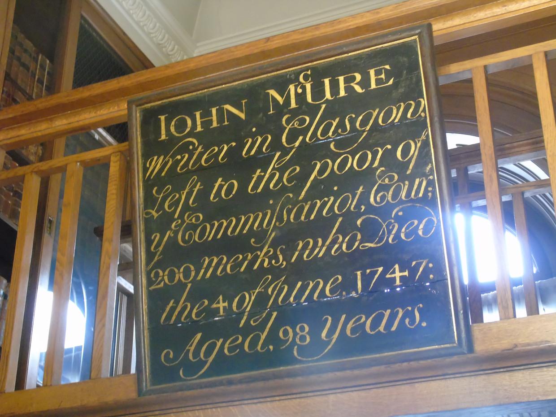 Mortification board dedicated to John McUre