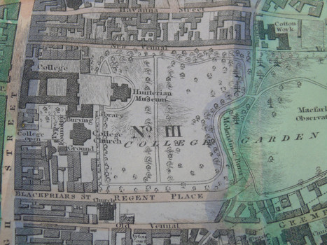 Detail of the 1828 map showing the location of the University of Glasgow on High Street