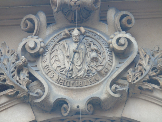 Crest of the Royal Faculty on the stonework of the building