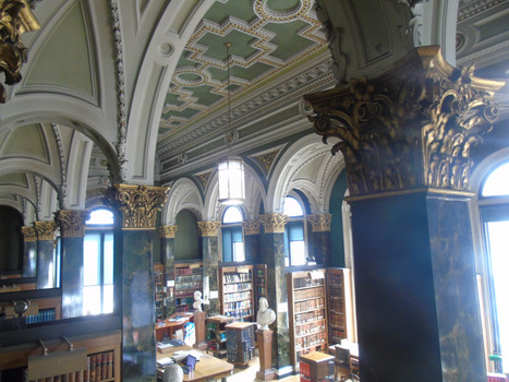 A view of the main library, showing some of the plasterwork