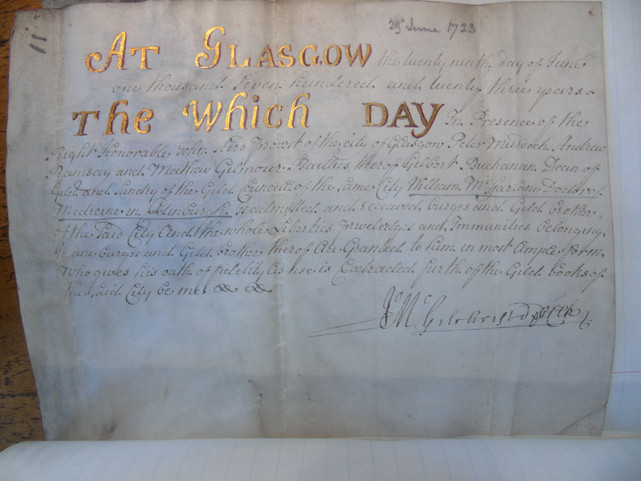 Certificate dated June 1723 confirming Doctor William MacFarlane's status as a freeman of the burgh of Glasgow