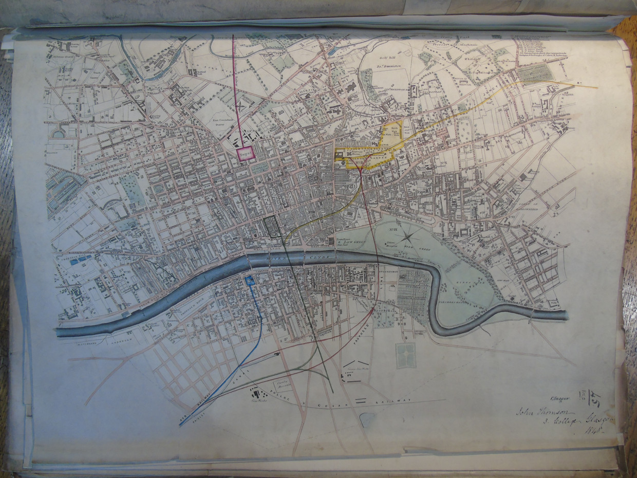 Map of Glasgow from 1848 showing proposed railway lines