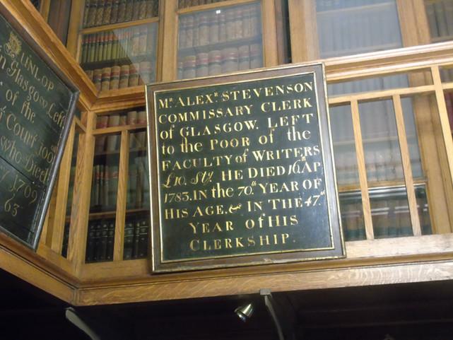 Mortification board dedicated to Alexander Stevenson