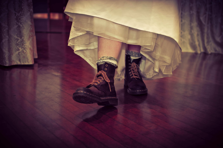 Boots under wedding dress