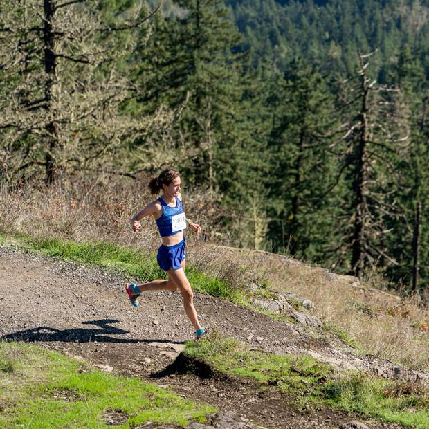 Rachel ripping down Spencer Butte in Eugene