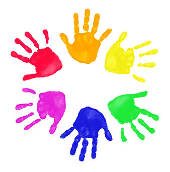 Set of colorful hand prints in rainbow o