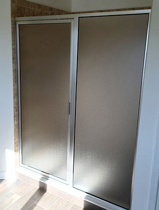 Framed Shower Frosted Glass Enclosure - Brushed Nickel