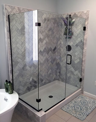Frameless Shower Enclosure - No Header - Corner Clips