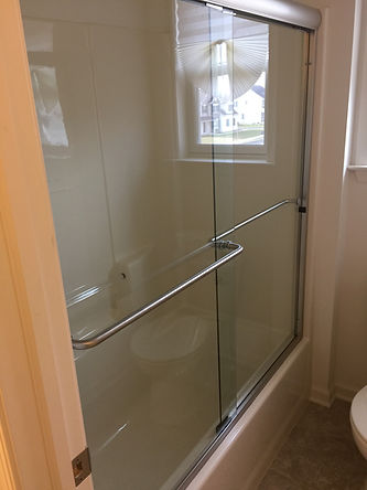 Semi Frameless Bypass Shower Enclosure - Towel Bar - Brushed Nickel