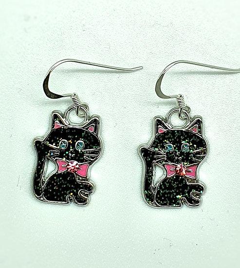 Shiny black cat earrings