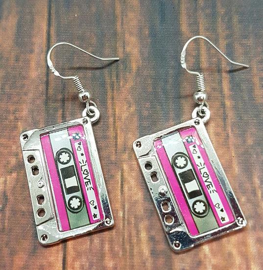 Tiny cassette earrings!