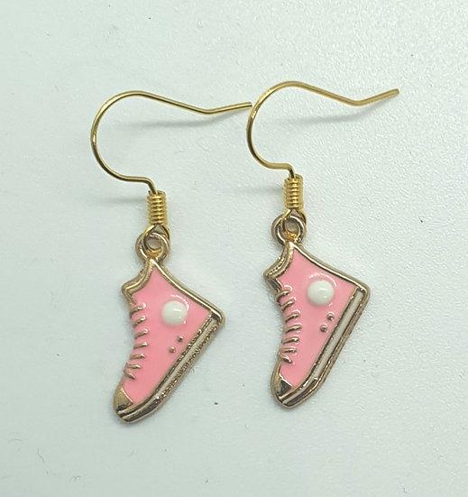 """Converse"" style hi-top trainer earrings"