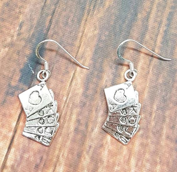 Royal flush/card earrings