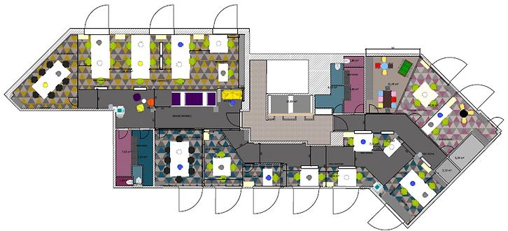 maquette, Projet agence marketing, bleu rêve, stéphanie rainaut, architecture intérieure, décoration