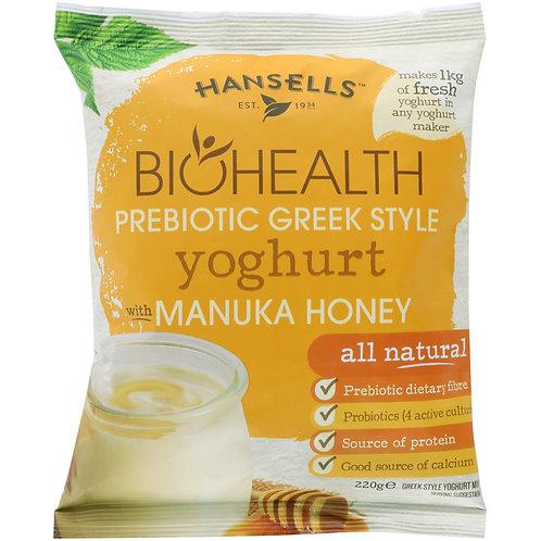 HANSELLS BioHealth Prebiotic Greek Style Manuka Honey Yoghurt