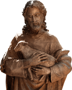 Sculpture of Jesus gently holding a lamb.