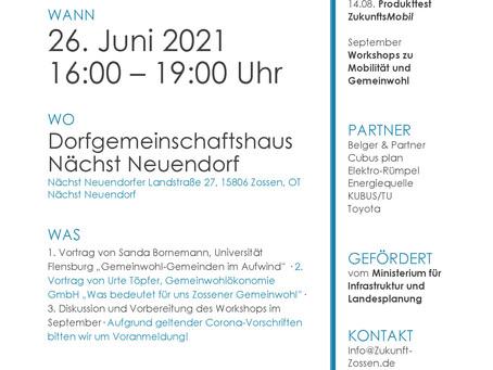 """Einladung zum ersten Vortrag des Projekts """"Zukunft Zossen"""": Gemeinwohl"""