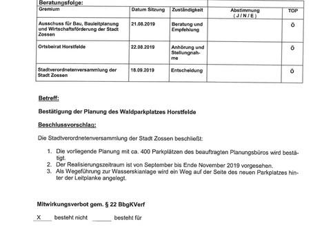 """Mit dem Gesetz oder ohne es? Das leidige Problem """"Parkplatz Horstfelde"""" – Teil 1"""
