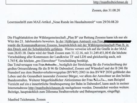 Nicht veröffentlicht von der MAZ: Manfred Teichmann zum Flyer-Ei