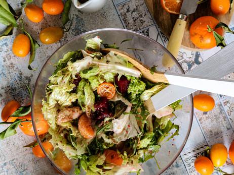 Winter salad with water kefir sauce