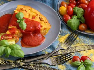 Pečena palenta s domaćim kefirom i povrćem - Baked polenta with homemade kefir and vegetables