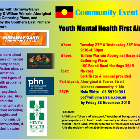 Upcoming COMMUNITY EVENTS (MHFA Workshops) at Willum Warrain Aboriginal Gathering Place   2018-2019