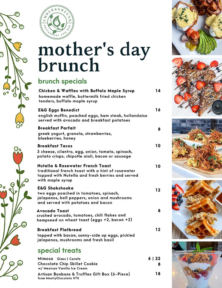 Ember & Greens Mother's Day Brunch Specials Menu