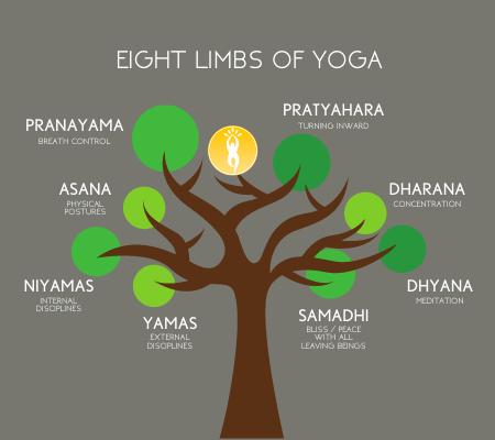 Eight Limbs of Yoga. Yamas, Niyamas, Asana, Pranayama, Pratyahara, Dharana, Dhyana, Samadhi