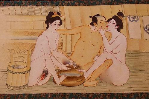 Rouleau Makemono  Epoque Meiji (1868-1912)..  Shunga, 12 estampes Japonaise