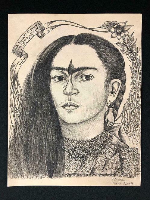 -VENDU- Frida Kahlo Dessin à la mine de plomb