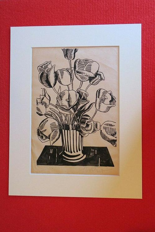 """Roy LICHTENSTEIN, Impression sérigraphie gouache au pochoir """" Black flowers """""""