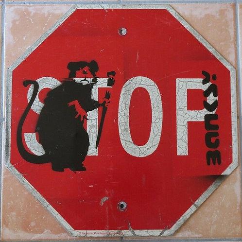 -VENDU- BANKSY Street Art panneau routier détourné