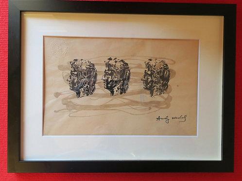 - VENDU - Andy Warhol Impression sérigraphie gouache au pochoir (1928 - 1987)