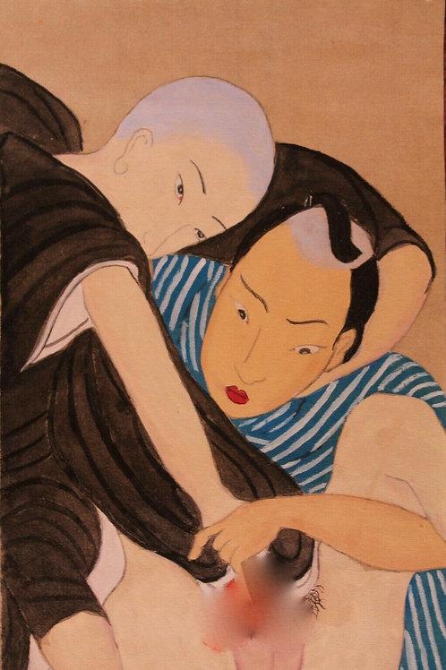 Estampe japonaise peinte sur papier de soie fin19 ème siècle Shunga