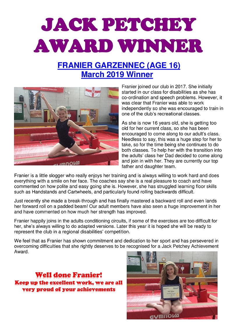 JACK PETCHEY AWARD WINNER - Franier Garz