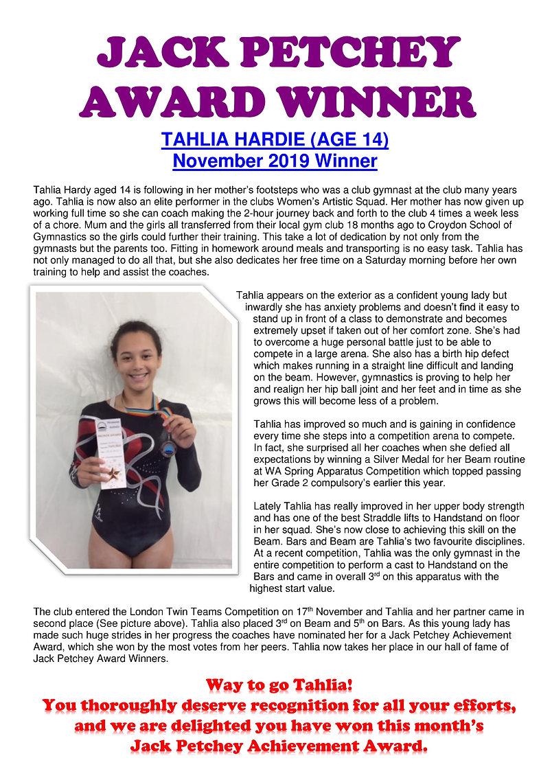 JACK PETCHEY AWARD WINNER - Tahlia Hardi