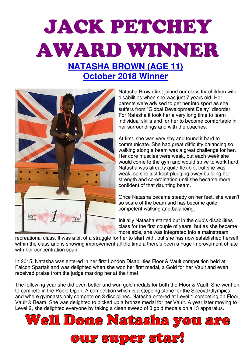 JACK PETCHEY AWARD WINNER - Natasha Brow
