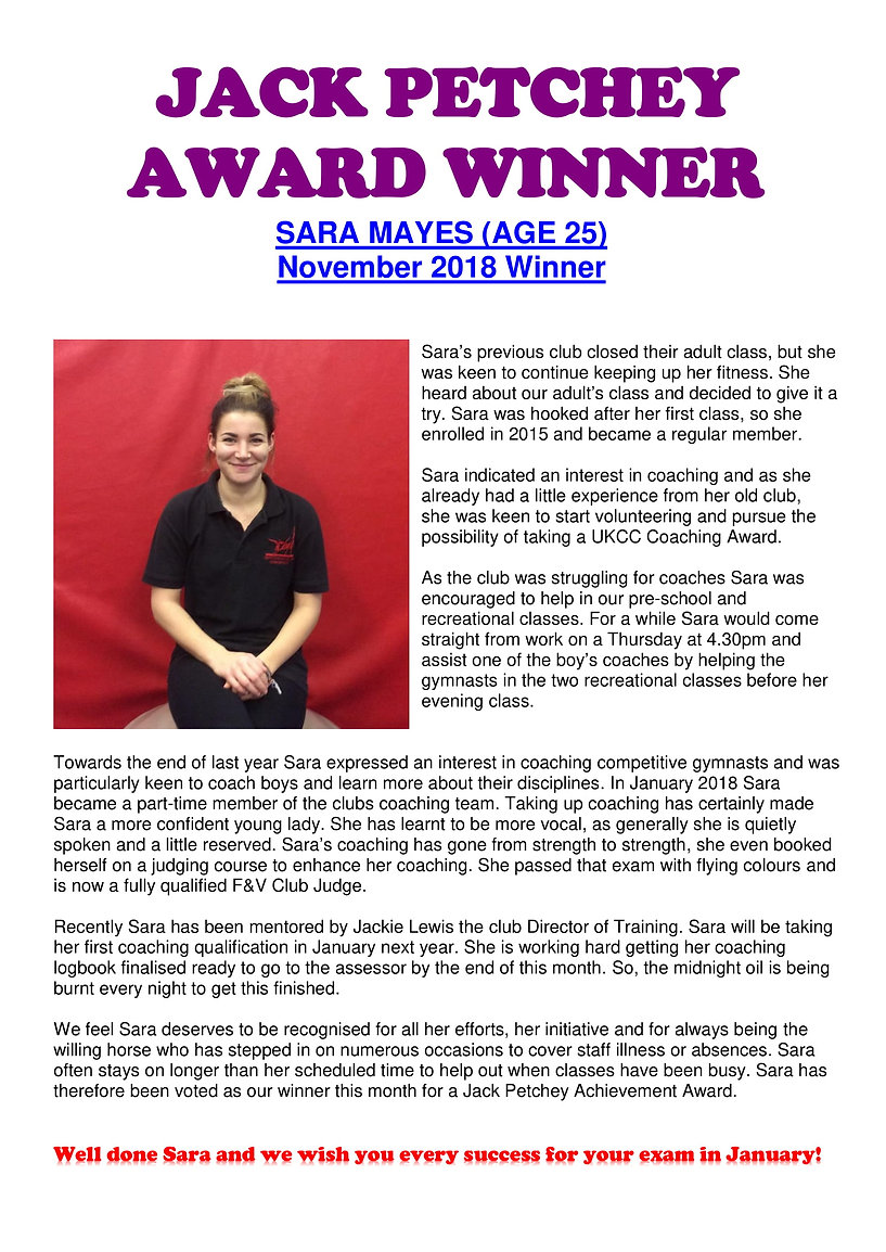 JACK PETCHEY AWARD WINNER - Sara Mayes -