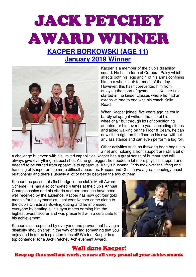 JACK PETCHEY AWARD WINNER - Kacper Borko