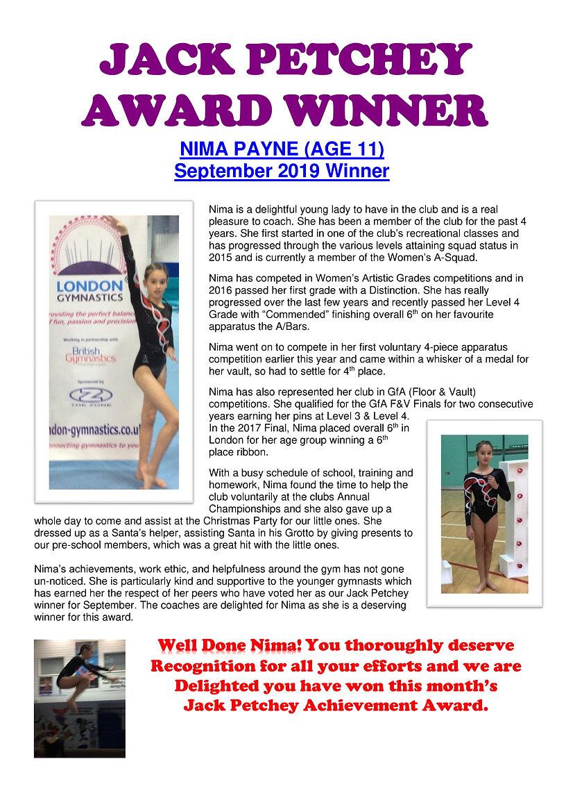 JACK PETCHEY AWARD WINNER - Nima Payne -