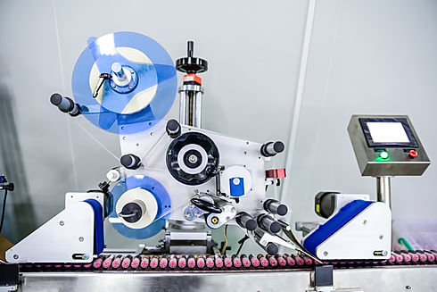 View on modern labeling machine at facto