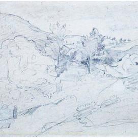 """Jean-Baptiste Camille COROT  (1796-1875) """"Arbres sur colline"""""""