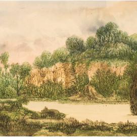"""George SAND (1804-1876) """"Paysage avec fleuve et falaises"""""""