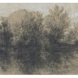 """Théodore ROUSSEAU (1812-1867)  """"Paysage lacustre"""""""