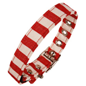 Fabric Dog Collar -Red and White Stripes