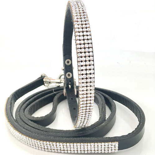 Solid Crystal Collar & Lead Set
