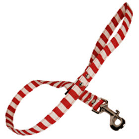 Fabric Dog Lead -Red and White Stripes